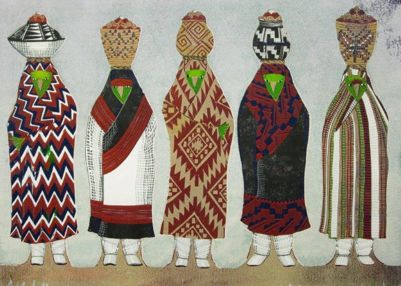 "Susi Bergquist Color Linocut Print ""Parrot Bring Corn"""