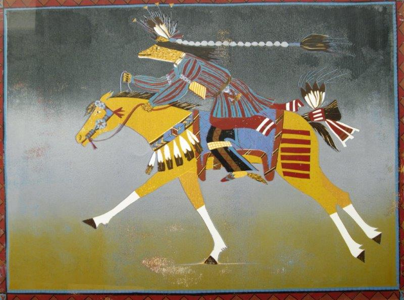 "Susi Bergquist Color Linocut Print ""West Horse"""