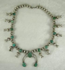 Navajo Sterling Silver Mercury Dime Squash Blossom Necklace