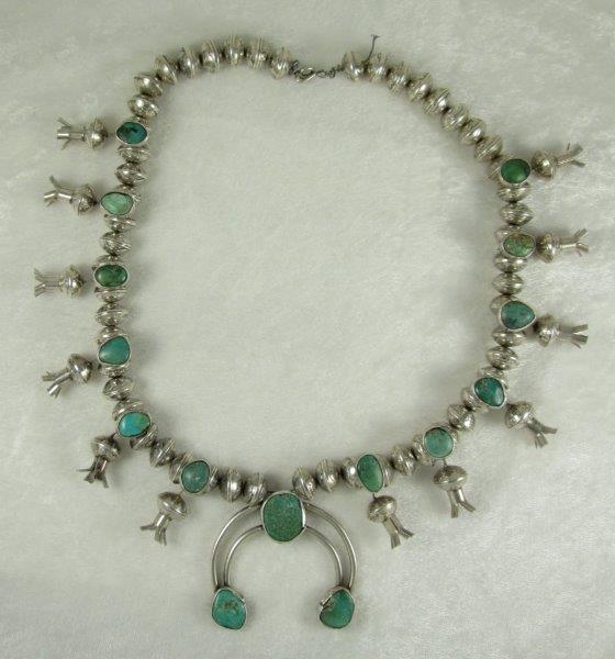 Navajo Sterling Silver Mercury Dime Squash Blossom Necklace