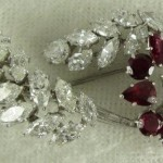 Platinum Diamond Ruby Brooch