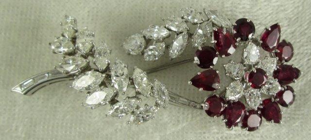 Platinum Diamond Ruby Brooch