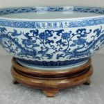 Chinese Blue & White Porcelain Bowl 20 inch Diameter