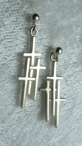 Sterling 3 Cross Earrings