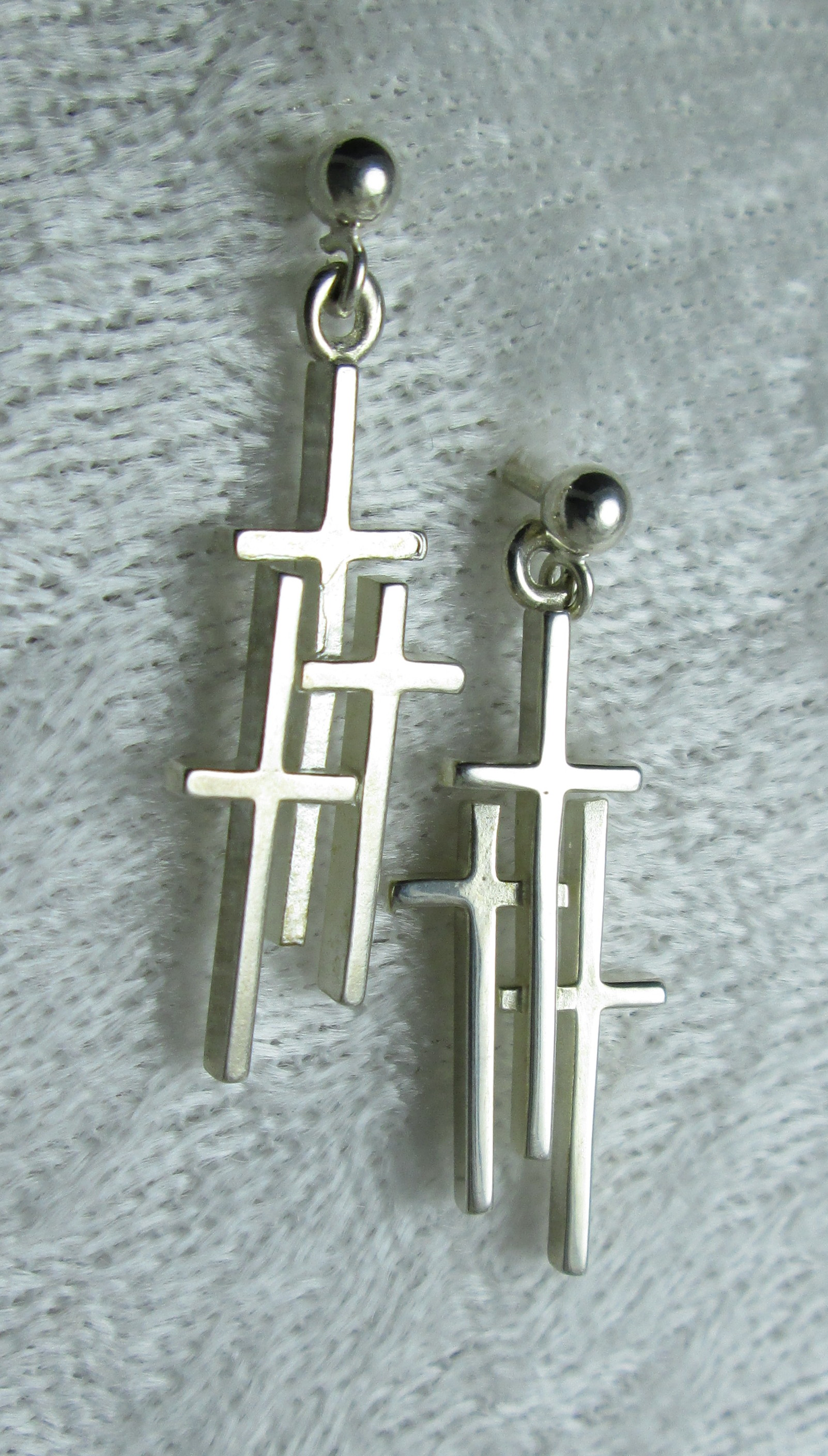 Sterling 3 Cross Earrings