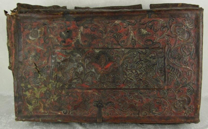 Spanish Colonial Hand Tooled, Embossed Leather Petaca (Document Box)