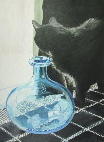 Tracy Jamison Cat and Blue Bottle