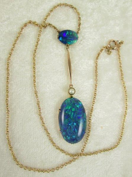 Black Opal Pendant Necklace