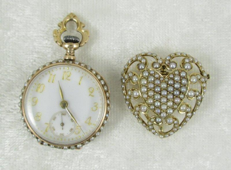 Pearl Brooch and Longines Watch
