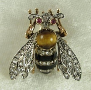 French Diamond Ruby Bee Brooch