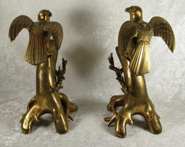 Pair Gilt Bronze Hawk Censors