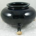 Chinese Cobalt Blue Tang Dynasty Earthenware 3 Footed Bowl