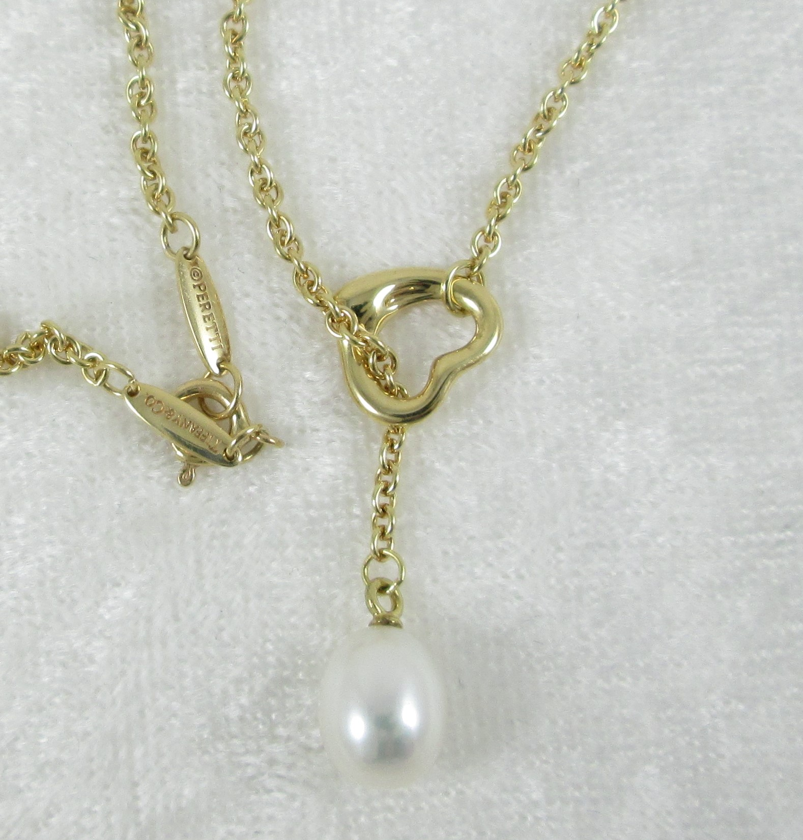 c7d419a7b157b Tiffany 18K Gold and Pearl Open Heart Lariat Necklace | The Cutter ...
