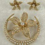 Pearl, Diamond, 14K Brooch and Earring Set