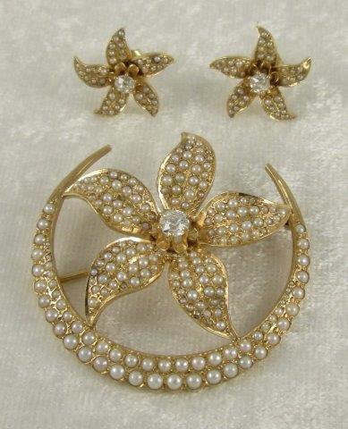 Pearl, Diamond, 14K Brooch and Earring Set