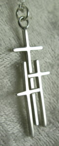 Large Sterling Silver 3 Cross Pendant