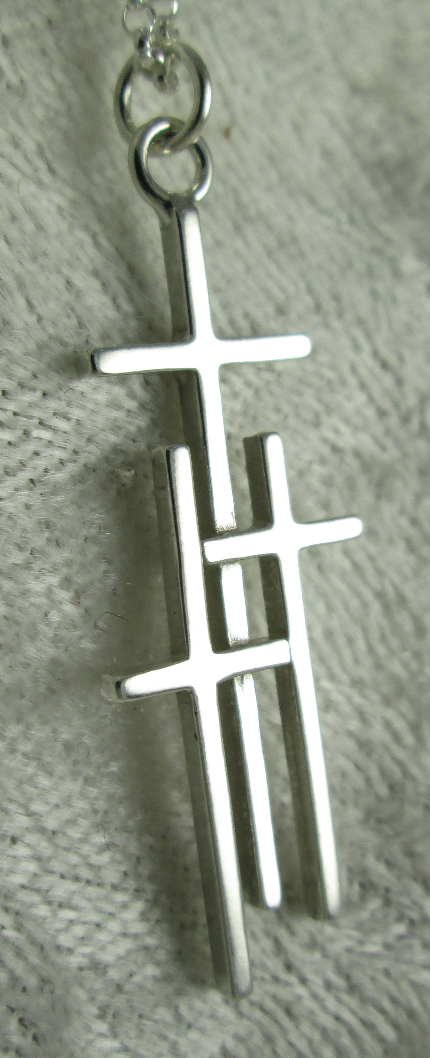 Large Sterling Silver 3 Cross Pendant