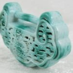 Antique Chinese Green Glazed Porcelain Padlock Pendant