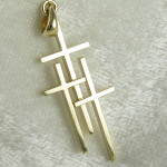 Large 14K Yellow Gold 3 Cross Pendant