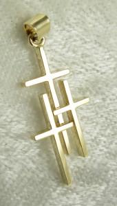 Small 14K 3 Cross Pendant